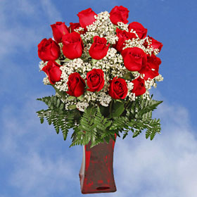 Valentine's Arrangement Everlasting Love 24 Beautiful Roses & Greens & Fillers with Vase