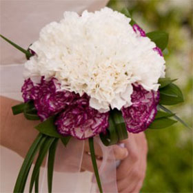 3 Bridesmaids Bouquets Purple & White Carnations