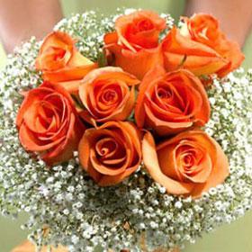 3 Bridesmaids Bouquets Classic Orange Roses