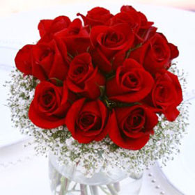 Wedding Table Centerpiece Classic Red Roses 6 Centerpieces