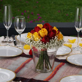 Beautiful classic wedding rose centerpieces with yellow - Red and yellow centerpieces ...
