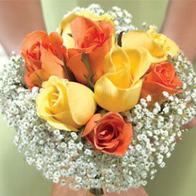 3 Bridesmaids Bouquets Classic Yellow & Orange