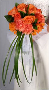 Bridal Bouquet Mix Garden Flowers Orange 25
