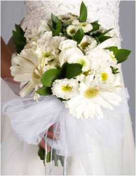 Bridal Bouquet Mix Garden Flowers White 25