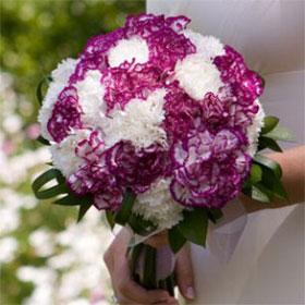 Premium Purple And White Carnation Bridal Bouquet