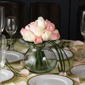 Wedding Table Centerpiece Romantic Light Pink & Ivory Roses 12 Centerpieces