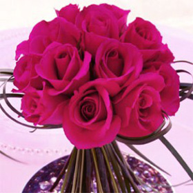 Wedding Table Centerpiece Romantic Dark Pink Roses 6 Centerpieces