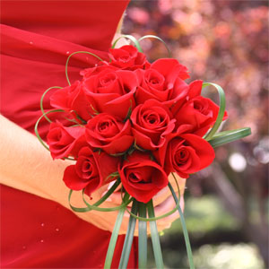 Romantic Red Roses Bridesmaids Bouquet