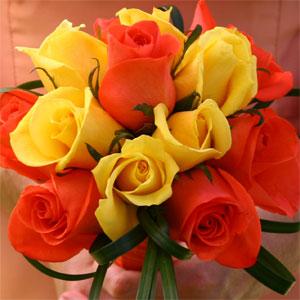 Romantic Yellow & Orange Roses Bridesmaids Bouquet