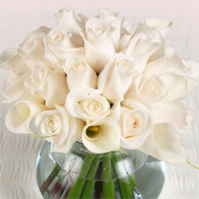 Wedding Table Centerpiece Ivory Roses & Calla Lilies 12 Centerpieces