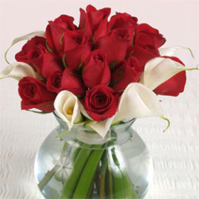 Red Roses & Calla Lilies 3 Wedding Table Centerpiece