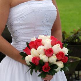 Bridal Bouquet Royal Dark Pink & White Roses