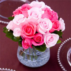 Wedding Table Centerpiece Royal Dark Pink & Light Pink Roses 6 Centerpieces