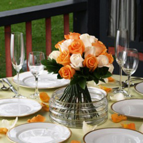 Wedding Table Centerpiece Royal Orange & Ivory Roses 6 Centerpieces