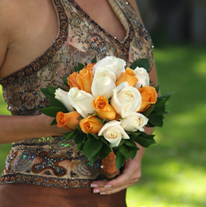 3 Bridesmaids Bouquets Royal Orange & White Roses