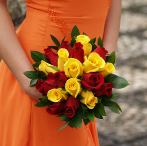 Royal Red & Yellow Roses Bridesmaids Bouquet