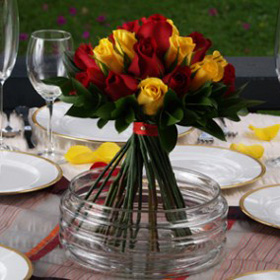 Wedding Table Centerpiece Royal Red & Yellow Roses 12 Centerpieces