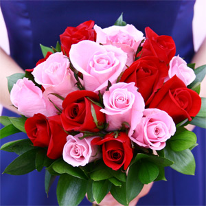 3 Bridesmaids Bouquets Royal Light Pink & Red Roses