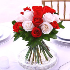 Wedding Table Centerpiece Royal Red & White Roses 12 Centerpieces