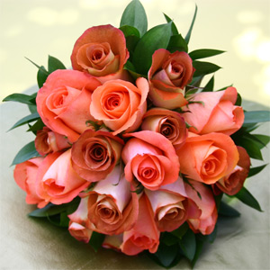 3 Bridesmaids Bouquets Royal Terracota & Orange Roses