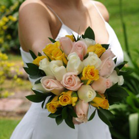Bridal Bouquet Royal Yellow Light Pink & White Roses