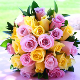 Bridal Bouquet Royal Yellow & Light Pink Roses