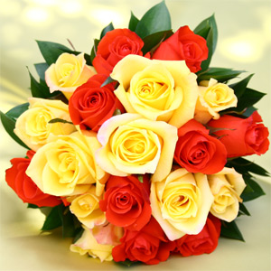 3 Bridesmaids Bouquets Royal Yellow & Orange Roses