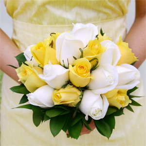 Royal Yellow & White Roses Bridesmaids Bouquet